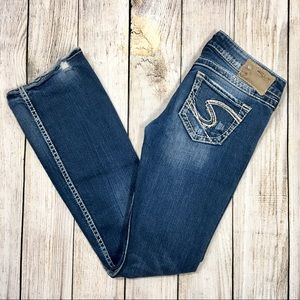 {silver jeans} Distressed Twisted Straight Jeans